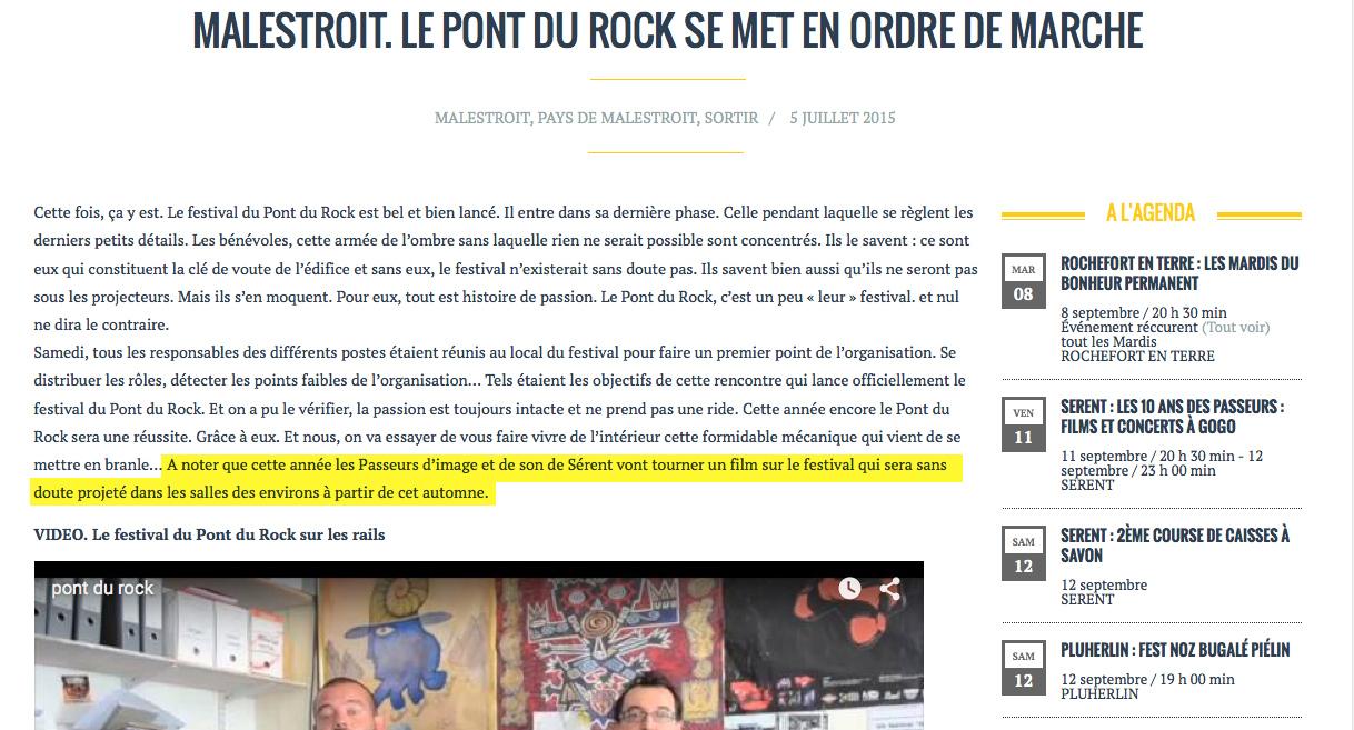 pont du rock - les infos du pays gal