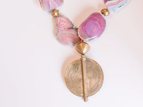 Ester | African Pendant + Agate Necklace
