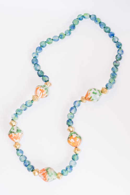 Glaze | Glass Beads + African Roundel Necklace