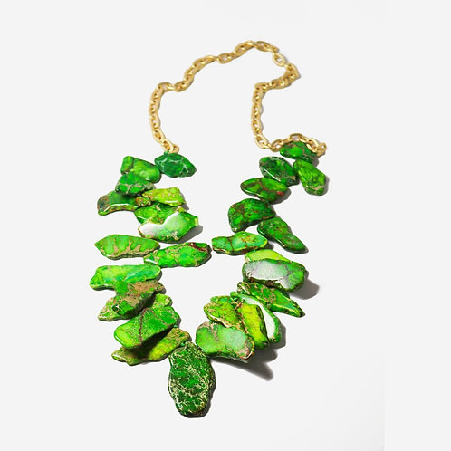 Streak | Long Lime Jasper + Gold Necklace