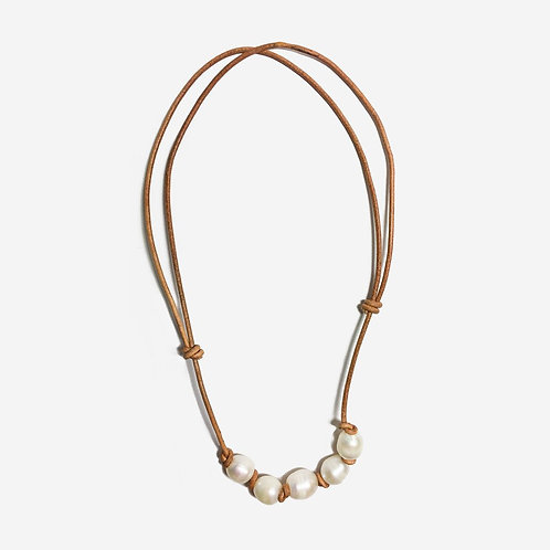 Stream | Leather + Pearl Necklace