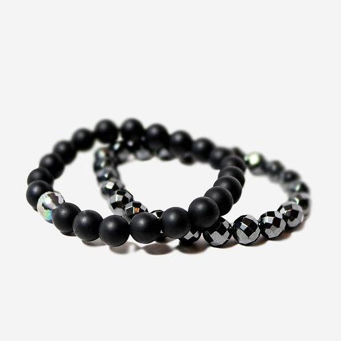 Tempt | Onyx + Hematite Bracelet Stack