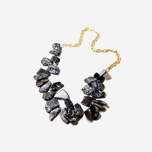 Streak | Jet Jasper + Gold Necklace