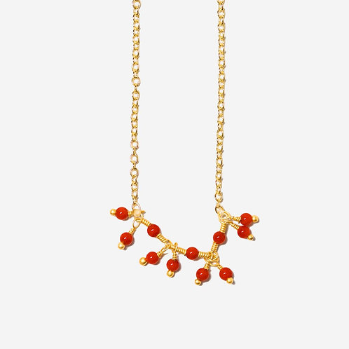 Intrigue I Coral Fringe Necklace
