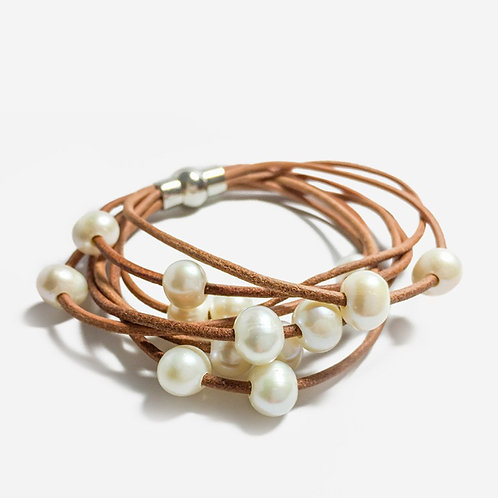 Crush | Leather + Freshwater Pearl Bracelet