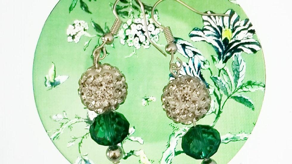 Green Crystal Ball Earring