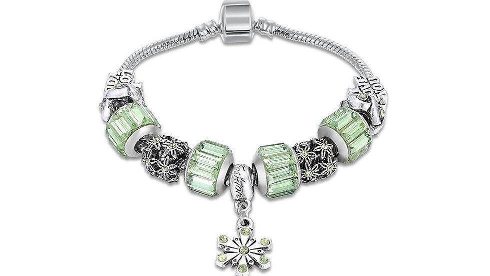 Green Swarovski Elements Pandora Inspired Snowflake Pendant Charm