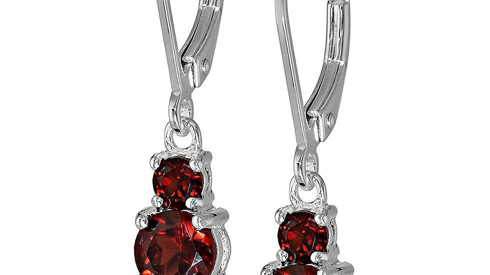 Three Stone Leverback Dangle With Swarovski® Crystals - Garnet in 18K