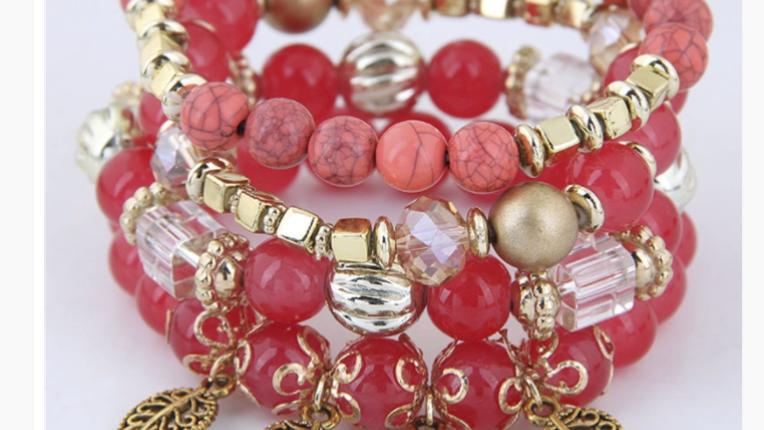 Red Ethnic Lady Bracelet