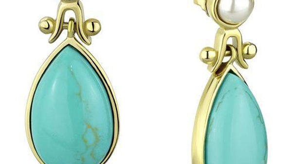 Women Stainless Steel Synthetic Turquoise Earrings