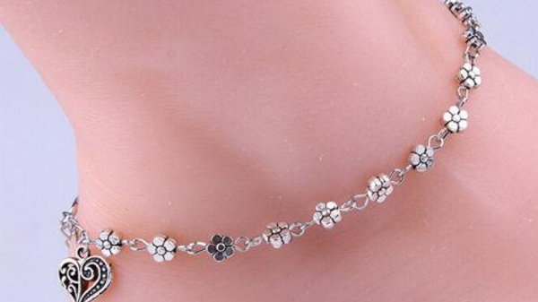 Daisy Flower Anklet Hanging Heart Charm