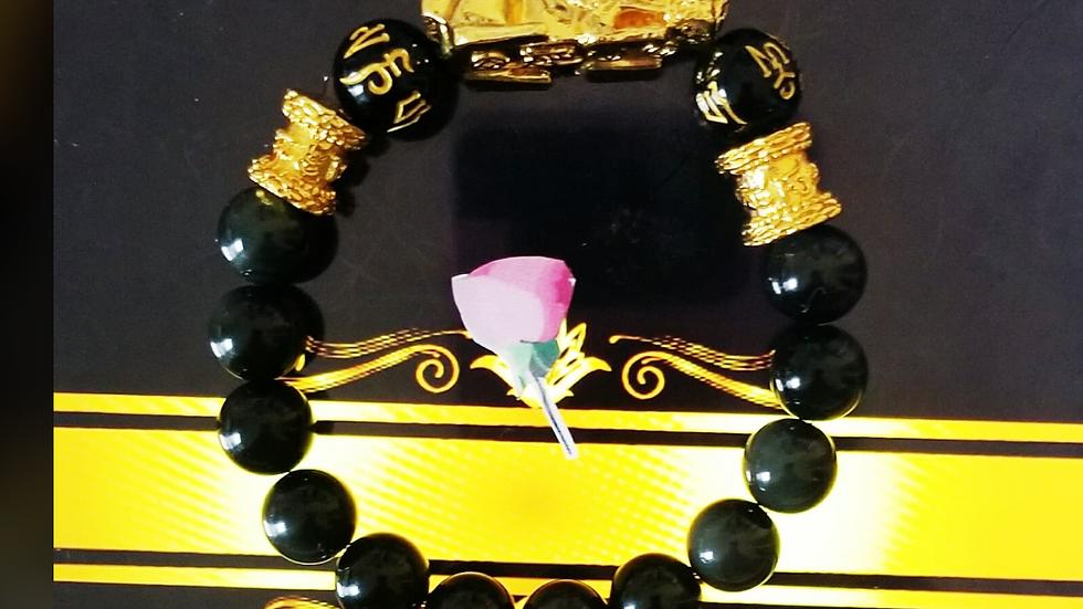 Black Obsidian Pixiu Good Luck Bracelet