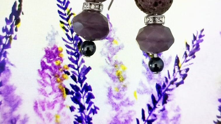 Lavender Lava with glass beads