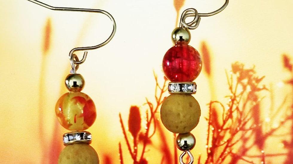 Yellow Lava Earring (Aroma Diffuser)