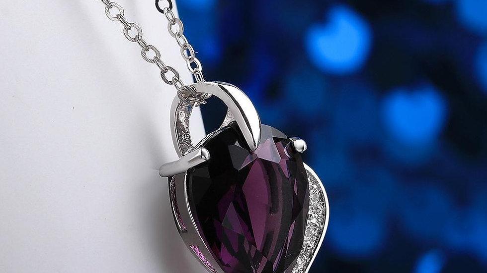 Amethyst Pear Cut Drop Necklace
