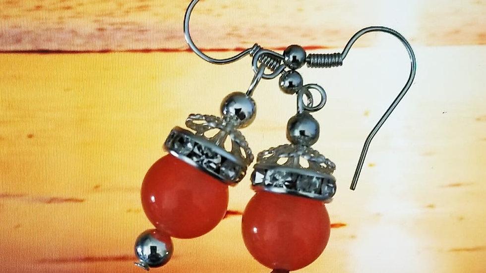 Orange Agate Genuine  Gem  Stone Earring