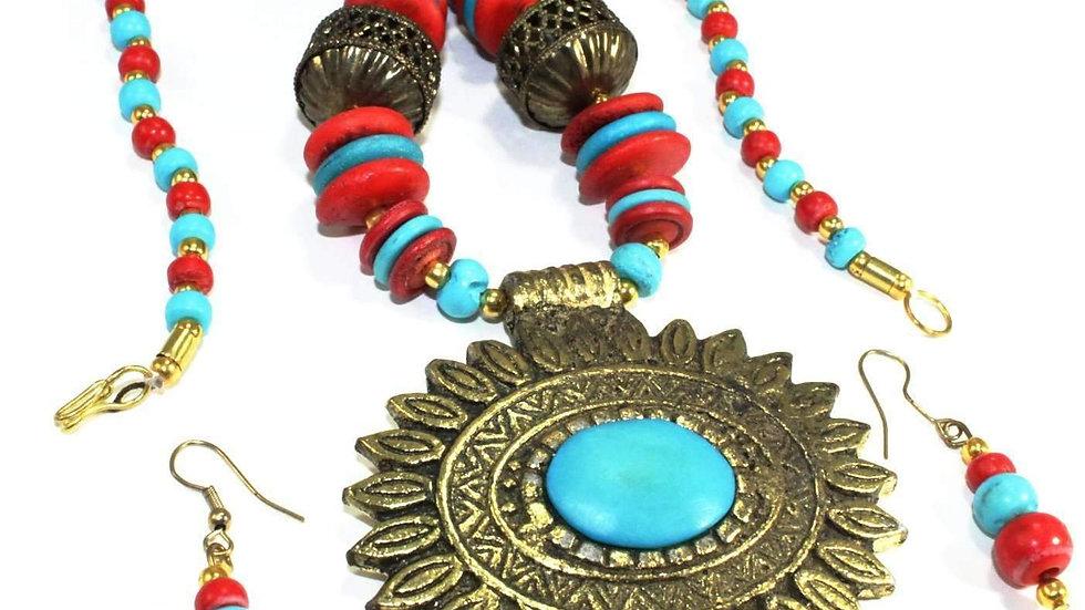Flower Medallion Boho Necklace & Earrings Set