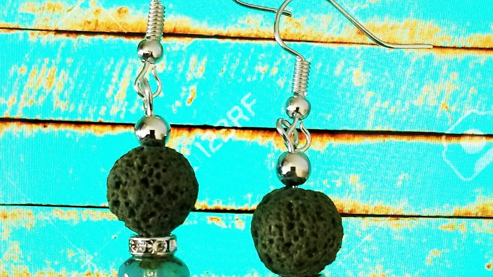 Green Lava Stone AromaDiffuser Earring