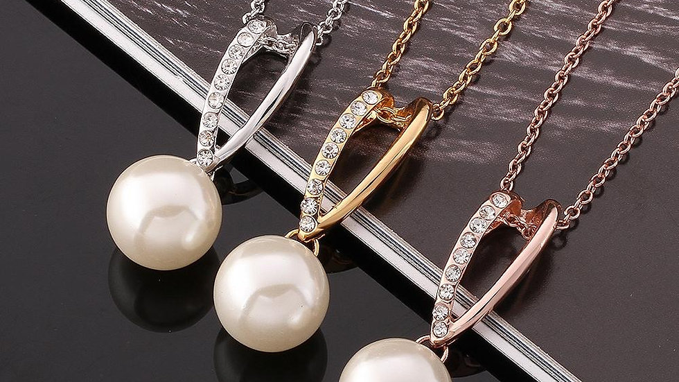 Pearl Valladolid Necklace in 18K White Gold Plated