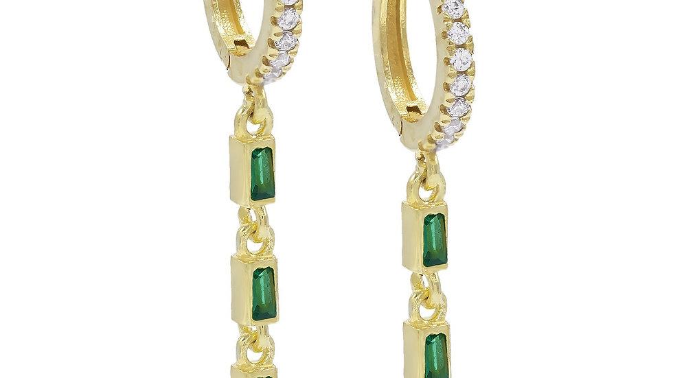 2 PACK -Dangling Three Green Stone Dangling Pav'e Earrings in 14K Gold