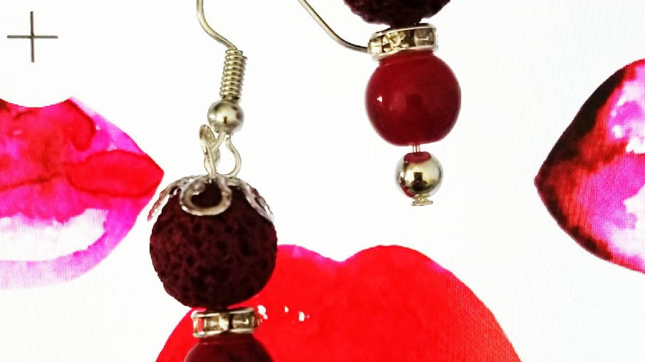 Red Lava Stones Aroma Diffuser Dangling Earring.