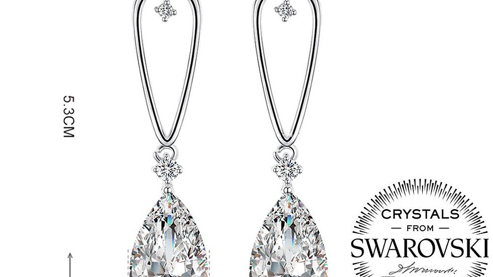 1.00 Ct Pear Cut Drop Earring in 18K White Gold Plated