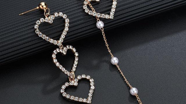 Crystal Love Heart Dangle Earrings