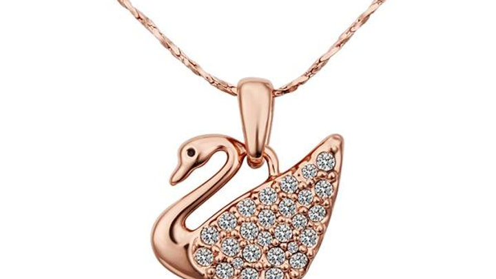 Swan Necklace in 18K Rose Gold Plated with Swarovski Crystals