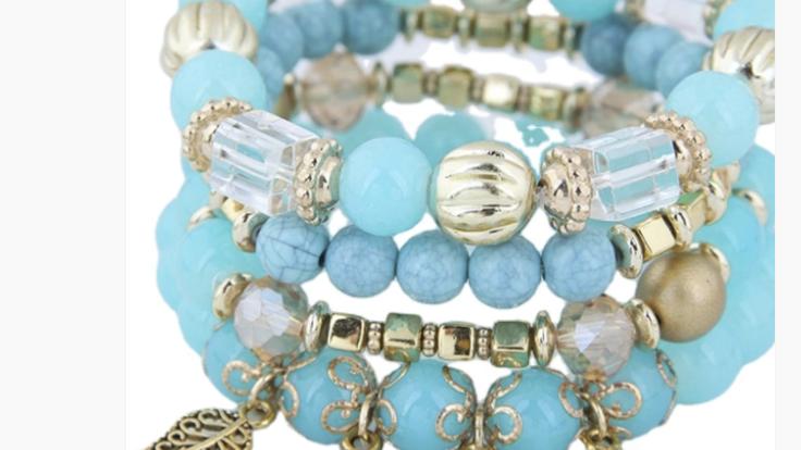 Blue Leaf  Wooden Bracelet