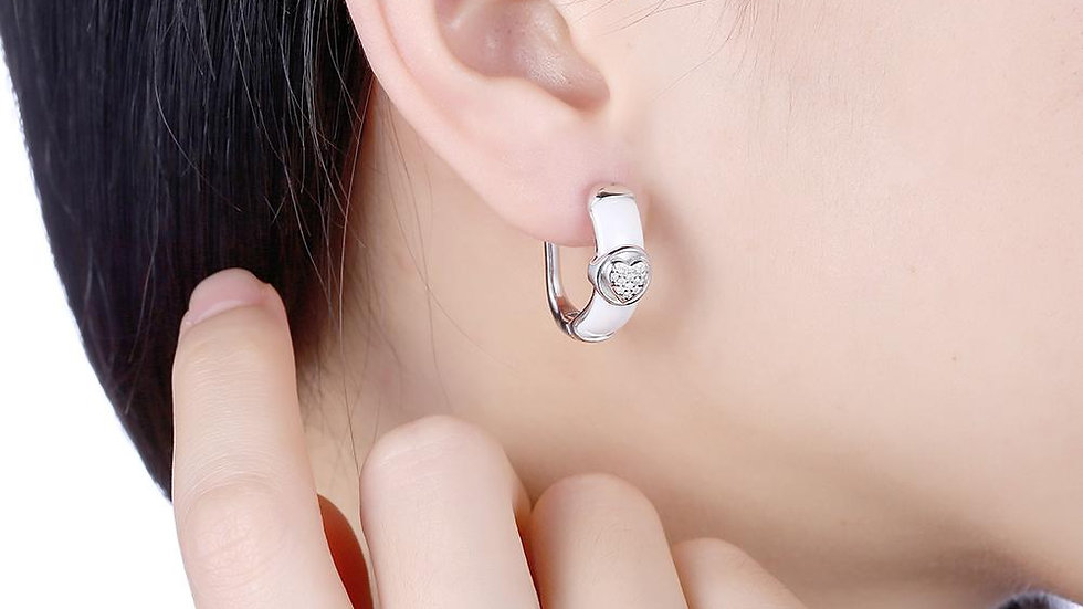 Sterling Silver Italian Ceramic Earring