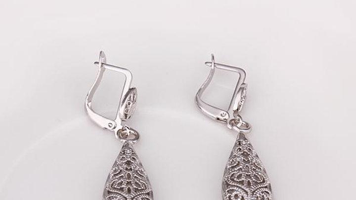 Bohemina Filigree Drop Earring in 18K White Gold Plated