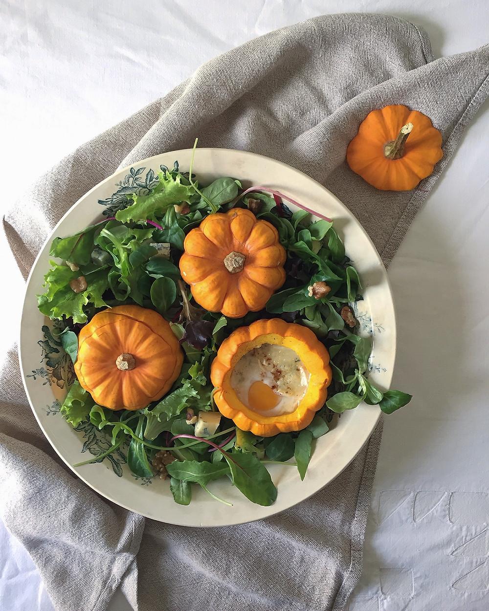 baked eggs in jack be little pumpkins + mesclun salad
