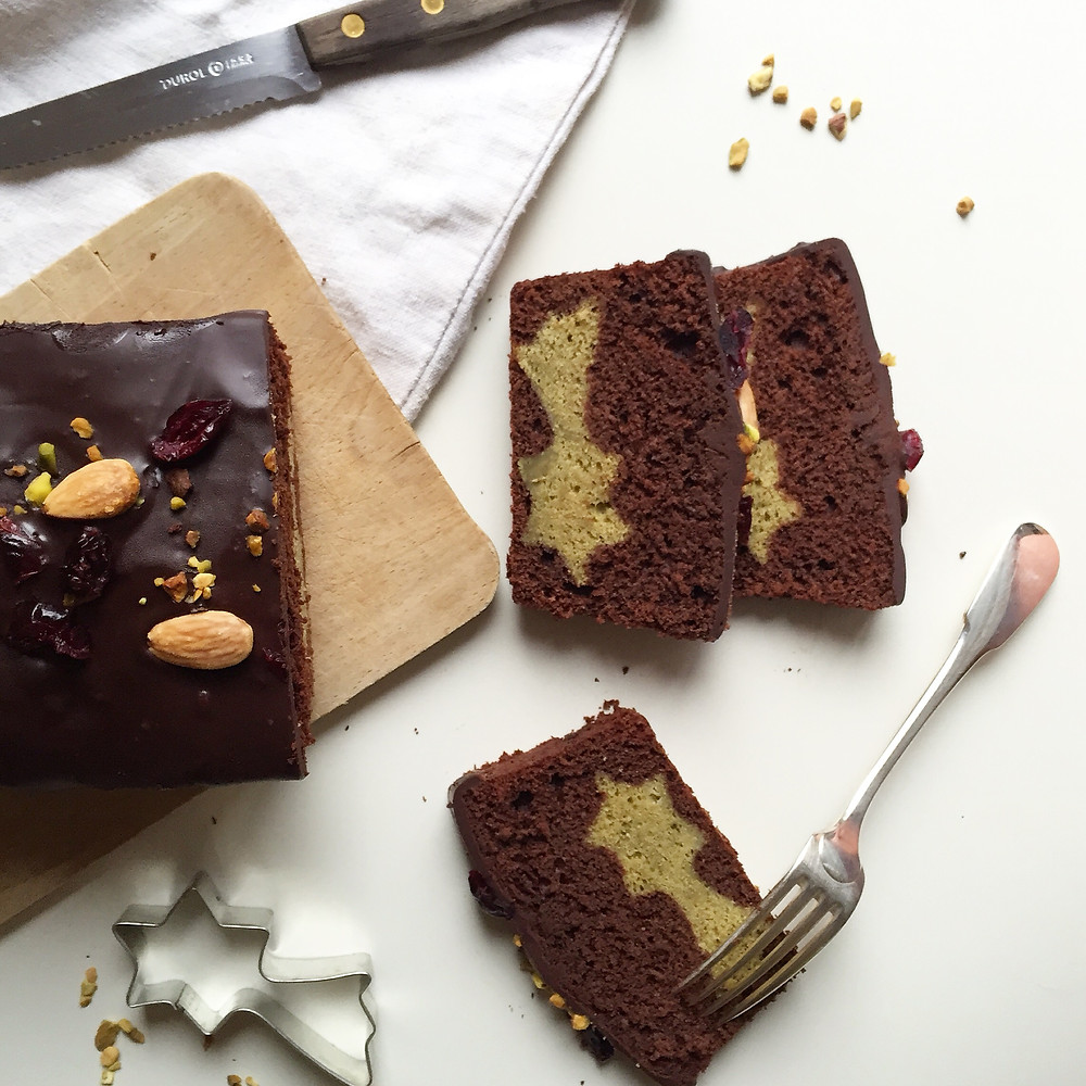 matcha and chocolate surprise cake (cake surprise au chocolat et au thé matcha)