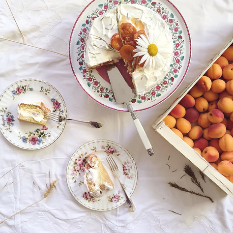 roasted apricots and rosemary whipped cream génoise