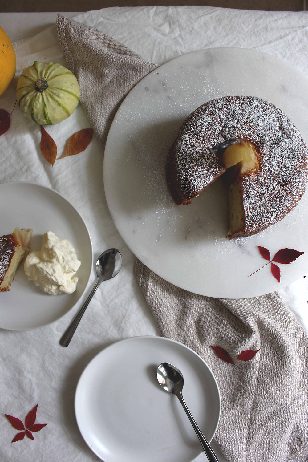pear, almond and honey cake, earl grey whipped cream - sistersjunction