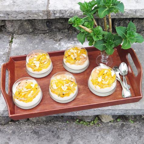 yoghurt, white chocolate and citrus fruit salad verrines