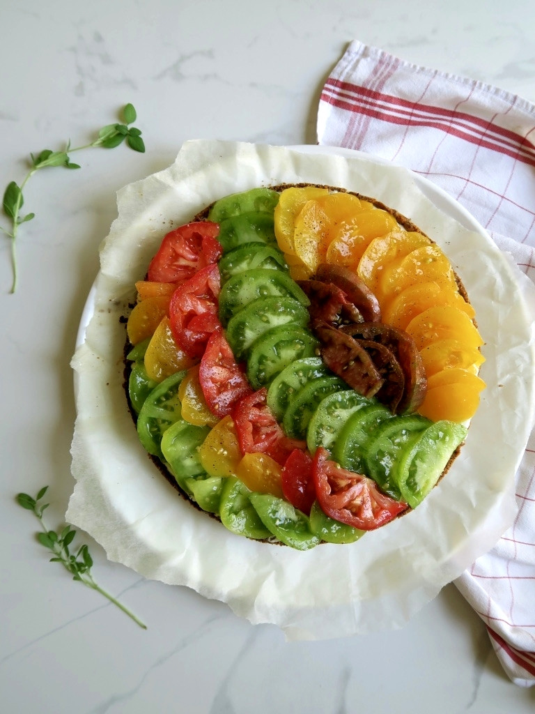 heirloom tomato and ricotta tart