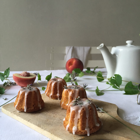 mini peach and lavender bundt cakes, lemon glaze