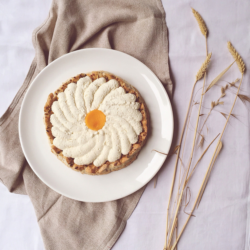 pistachio, mango and jasmin green tea whipped cream cake