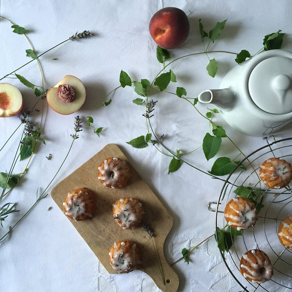 mini peach and lavender bundt cakes, lemon glaze