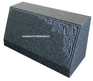 Upright Karin Grey granite tablet with deep carved rose design