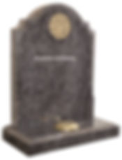 Golden Tree of Life design enhances this classically shaped memorial, shown here in polished Bahama Blue granite