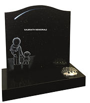 Polished Black Galaxy granite is the perfect background to this gently etched stargazing dream artwork