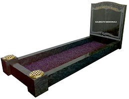 Kerala Green granite kerb set memorial incorporating an updated version of the classic etched book design