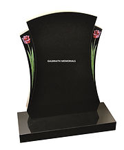 Brinkley. Elegantly shaped memorial with recessed side panels showing tulip ornamentation on polished Black granite