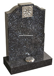 A pewter paint effect enhances the carved motif on this striking Blue Pearl memorial