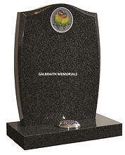 All polished South African Dark Grey granite with beautifully detailed Lovebirds inset