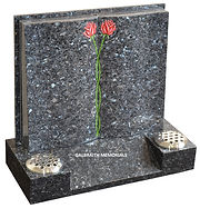 Shaped book memorial in polished Blue Pearl granite with entwined rose ornament