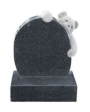 Polished Dark Grey granite memorial with Teddy bear