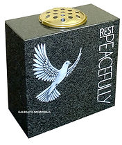 South African Dark Grey granite vase with stylish dove artwork